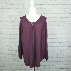 Torrid wine red lace shoulder and neck peasant top